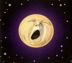 yawning moon